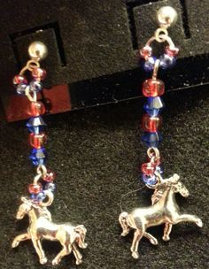 Horse dangles on posts with red and blue accents-SOLD!!