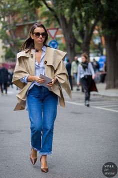 cape with boyfriend jeans and shirt