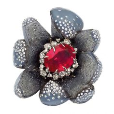 Dracula Spinella Devorus  ring from the Belladone Island Collection white gold diamonds spinel sapphires and chalcedony by Dior Joaillerie