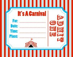 Printable Circus Templates   Blank Circus Invitations Templates