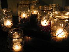 Moss Hanging Light Mason Jar Lamp Candle Lantern  by SaffronGlow