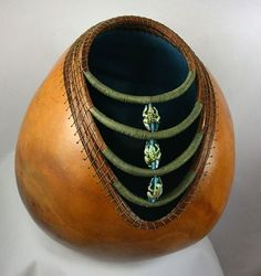 learned to do a project very similar to this from Ms. Charlotte Durrance of Georgia. She is a wonderful artist & a great friend ♥ Gourds by Grace Decorative Gourds, Hand Painted Gourds, Pine Needle Crafts, Gourds Birdhouse, Pine Needle Baskets, Pine Needles, Gourd Art, Wood Turning, Vases