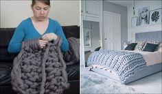 Come creare una bellissima coperta usando solo le mani...