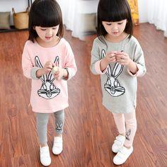 >> Click to Buy << Nieuwe Spring herfst Kinderkleding Sequin Konijn kinderen T-Shirt+pants 2 pcs kleding sets voor kids katoen meisjes Kind Kleren #Affiliate