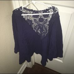 navy blue crochet detailing kimono Super cute and I never wear it anymore so it's looking for a new home Jackets & Coats