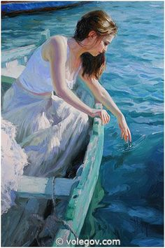 blue - boat with woman - sea - figurative painting - Vladimir volegov Figure Painting, Painting & Drawing, Vladimir Volegov, Ecole Art, Foto Art, Paintings I Love, Pics Art, Beautiful Paintings, Figurative Art