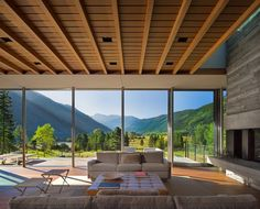 Although it's a mere 1.5 miles from downtown Aspen, this home feels peacefully remote. Bohlin Cywinski Jackson and Mindel & Associates worked in collaboration to design a wall of floor-to-ceiling glass panes to capitalize on the site's sweeping views of an alpine meadow, a nature preserve, and the dramatic Rocky Mountains. (The home was also featured in AD's June 2015 issue.)