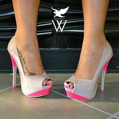 Hot pink & nude heels