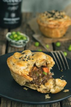 These Guinness Irish Beef Stew Mini Pot Pies from The Road to Honey are the ultimate comfort food. Classic Irish Beef Stew with melt-in-your-mouth beef in a rich and hearty gravy is placed in a buttery, flaky crust! Mini Pot Pies, Beef Pot Pies, Mini Beef Pot Pie Recipe, Irish Recipes, Pie Recipes, Cooking Recipes, Irish Meals, Recipies, Scottish Recipes