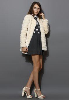 Quilted Faux Fur Coat in Cream -