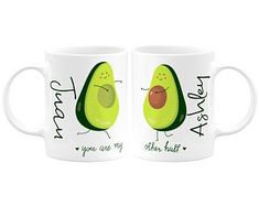 Personalized Avocado Couple Coffee and Tea Mug Customized Funny Couple Coffee Mug Wedding Gift Valentines Day Gift Anniversary Couple Gift Couples Coffee Mugs, Couple Mugs, Couple Gifts, Cat Laser, Biscuit, Pet Memorial Stones, Scrabble Frame, Avocado, Gifts For Your Girlfriend