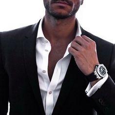 Black suit &  white shirt