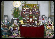 Mother, girls, dolls., kimonos. Japan.