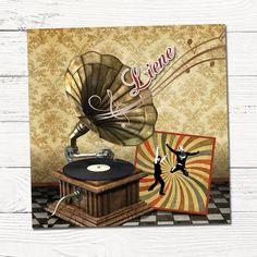 Retro geboortekaartje met muziek | platenspeler | vinyl | vintage