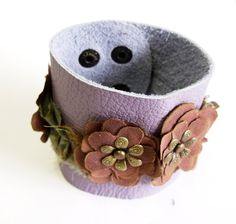 Lilac leather bracelet with handmade batic by agatechristina, $21.00