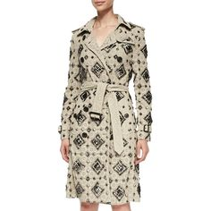 Burberry London Embellished Trench Coat ($4,895) ❤ liked on Polyvore featuring outerwear, coats, stone, burberry trenchcoat, belted coat, tie belt, burberry coat and lace trench coat