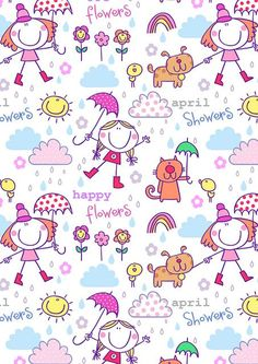 Girls just want to have fun! Cute Wallpapers, Wallpaper Backgrounds, Iphone Wallpaper, Kawaii Wallpaper, Flower Wallpaper, Motif Vintage, Motif Floral, Stick Figures, April Showers
