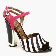 Odetta Block Heels in Black & White Stripe (SEDELMAN1 1049131)