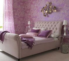 Romantic bedroom with pink and purple shades