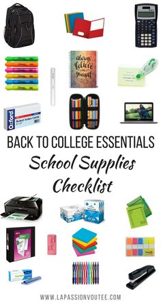 Back to college supplies checklist | Check out this post for all you need for your study supplies, dorm room, personal care needs, and clothing for female students.