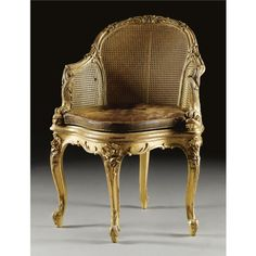 c1900 A giltwood fauteuil de bureau French, circa 1900 Estimate   8,000 — 12,000  GBP 13,270 - 19,906USD LOT SOLD. 20,000 GBP (33,176 USD) (Hammer Price with Buyer's Premium) Italian Furniture, Classic Furniture, Furniture Styles, Luxury Furniture, Furniture Design, Adirondack Chair Cushions, Vintage Interior Design, French Chairs, Elegant Home Decor
