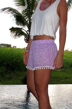 Pom Pom Shorts  Lilac and White pattern with White by ljcdesignss, $29.00
