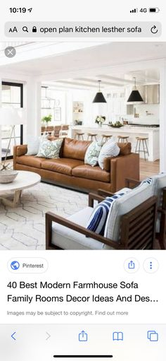 Tan Sofa, Family Room Decorating, Open Plan Kitchen, Living Room Sofa, Modern Farmhouse, Dining Bench, New Homes, How To Plan, Room Ideas