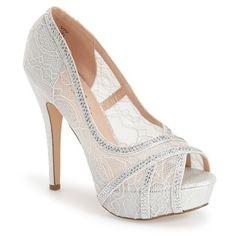 "Lauren Lorraine 'Viv' Peep Toe Platform Pump, 5"" heel ($100) ❤ liked on Polyvore featuring shoes, pumps, silver, peep-toe shoes, sparkle peep toe pumps, high heel pumps, lace pumps and sparkly shoes"