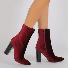 Emerie Pointed Toe Sock Fit Ankle Boots in Bordeaux Velvet