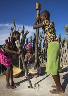 African Women With Mortars And Pestles, Ondangwa, Namibia | Flickr
