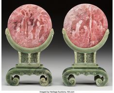 Pair of Chinese Carved Rose Quartz Table Screens on Spinach Jade Stands, 19th century. 12-3/4 inches high (32.4 cm)