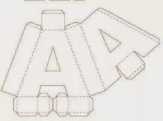 Eu Amo Artesanato: Letras em 3D com molde 3d Alphabet, Alphabet Templates, Baby Boy 1st Birthday Party, Diy Birthday, Cardboard Letters, 3d Letters, Handmade Gifts For Friends, Diy Gift Box, Diy Origami