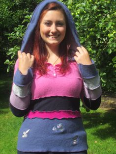 Small Pink and Blue Hooded Jumper. Festival chic. Ethical fashion, quality recycled knitwear.