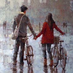 """October Sprinkles"" by Andre Kohn Bicycle Art, Cycling Art, Couple Art, Figurative Art, Watercolor Art, Art Drawings, Illustration Art, Sculpture, Art Gallery"