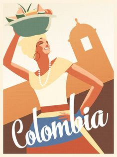 Colombia Poster Cartagena travel print by ConsiderGraphics on Etsy