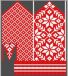 Diagram inspired by Selbuvotter by Clara Falk Knitted Mittens Pattern, Fair Isle Knitting Patterns, Crochet Mittens, Knitting Charts, Diy Crochet, Knitting Stitches, Knitting Designs, Hand Knitting, Knitted Hats