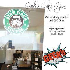 Geek's Café Graz » missgetaway.com Star Wars Silhouette, Star Wars Stickers, Star Coffee, Fictional World, Stuff To Do, Cool Stuff, Having A Crush, Big Bang Theory