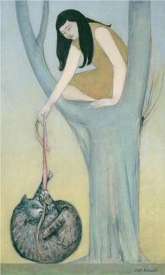 Woman on Tree With Cat - Will Barnet