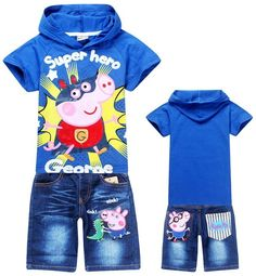 New 2014 Retail Children Peppa Pig Clothing Set 100% cotton t-shirt+jeans girls and boys suits cartoon clothes sets kids suit $5.07 - 9.18