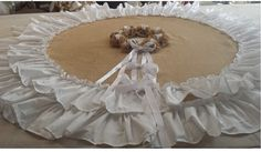 60 white and burlap round tree skirt by EwcHomeDesigns on Etsy