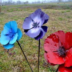 Poppy flower stake garden art poppy strong metal by VonChandler