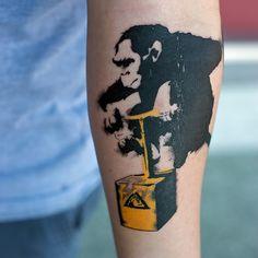 Chimpanzee Explosion Box Forearm Tattoo