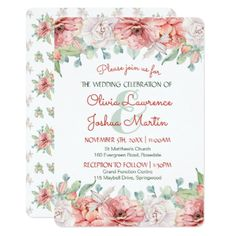 Watercolor Flower Wedding Invitations - invitations custom unique diy personalize occasions
