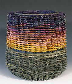 """Kari Lonning double walled basket with her incredible """"hairy"""" technique. Love Kari's sense of color."""