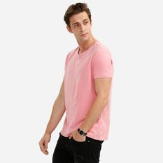 ZANSTYLE Crew Neck Pink T Shirt for Men #jewelry, #women, #men, #hats, #watches, #belts