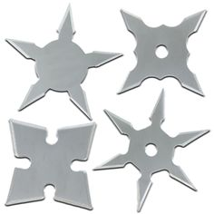 Set of Four! Sharp and exacting, the stainless steel construction is an excellent medium for piercing a target. Each one of these throwing stars have been shaped and their designs have been tested for their specific purposes. #throwingstarsminishinobiproset