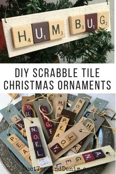 How to make DIY Scrabble tile Christmas ornaments. Scrabble Letter Crafts, Scrabble Ornaments, Scrabble Art, Scrabble Tiles, Handmade Christmas Gifts, Diy Christmas Ornaments, Holiday Crafts, Christmas Decorations, Ornaments Ideas