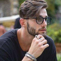 New hair men glasses fashion 30 Ideas Mens Hairstyles With Beard, Hairstyles Haircuts, Cool Hairstyles, Classic Mens Hairstyles, 1920s Hairstyles, Celebrity Hairstyles, Popular Mens Haircuts, Haircuts For Men, Medium Length Hair Men