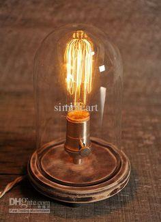 Wholesale Chandeliers & Pendant Lamps - Buy Vintage Bell Jar Table Lamp, Rustic Industrial Lamp, Edison Lamp Bulb, Steampunk, Antique, $139....