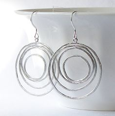 Silver Circle Hoop Dangle Earrings Earrings under by PeriniDesigns, $17.00